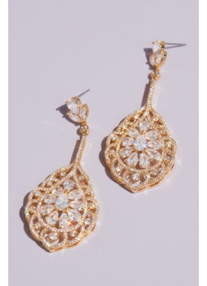 Natasha Grey (Teardrop and Marquise-Cut Crystal Swirl Earrings)