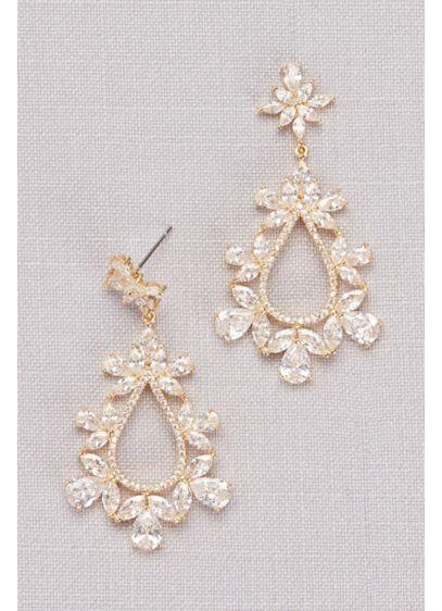 Cubic Zirconia Floral Teardrop Earrings - An ornate, floral-inspired arrangement of cubic zirconia stones