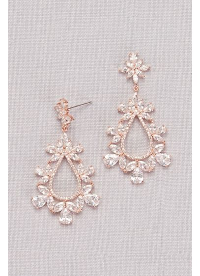 Cubic Zirconia Floral Teardrop Earrings - An ornate, floral-inspired arrangement of cubic zirconia stones