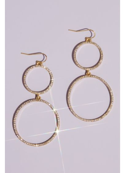 Double Crystal Hoop Drop Earrings - Perfect to dress up with a special occasion
