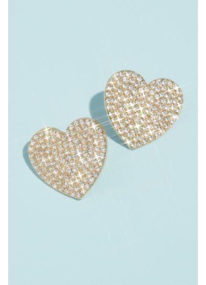 Pave Rhinestone Heart Stud Earrings - Wedding Accessories