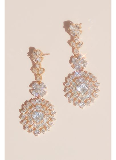Cubic Zirconia Flower Medallion Drop Earrings - It doesn't get any more glamorous than this