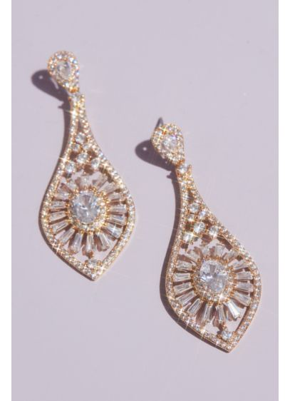 Oval and Baguette-Cut Crystal Burst Drop Earrings - Delicate details, like strewn solitaire-cut crystals, a full