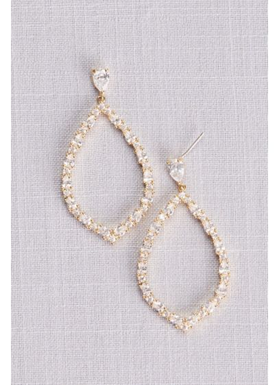 Crystal Teardrop Outline Earrings - Wedding Accessories