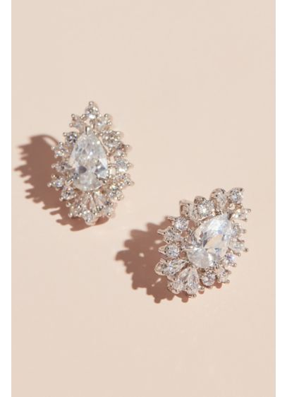 Pear Shaped Cubic Zirconia Stud Earrings with Halo - Make a sophisticated statement in these pear-shaped, eye-catching