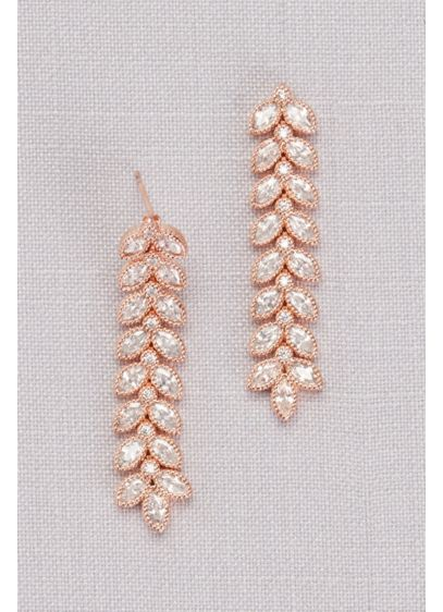 Cubic Zirconia Linear Leaf Earrings - Wedding Accessories