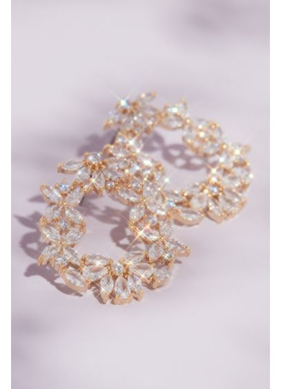 Pink (Cubic Zirconia Cluster Round Hoop Earrings)