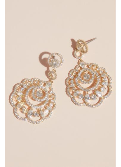 Natasha Pink (Scalloped Pave Rhinestone Drop Earrings)