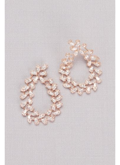 Pear-Shaped Cubic Zirconia Swirl Hoop Earrings - Wedding Accessories