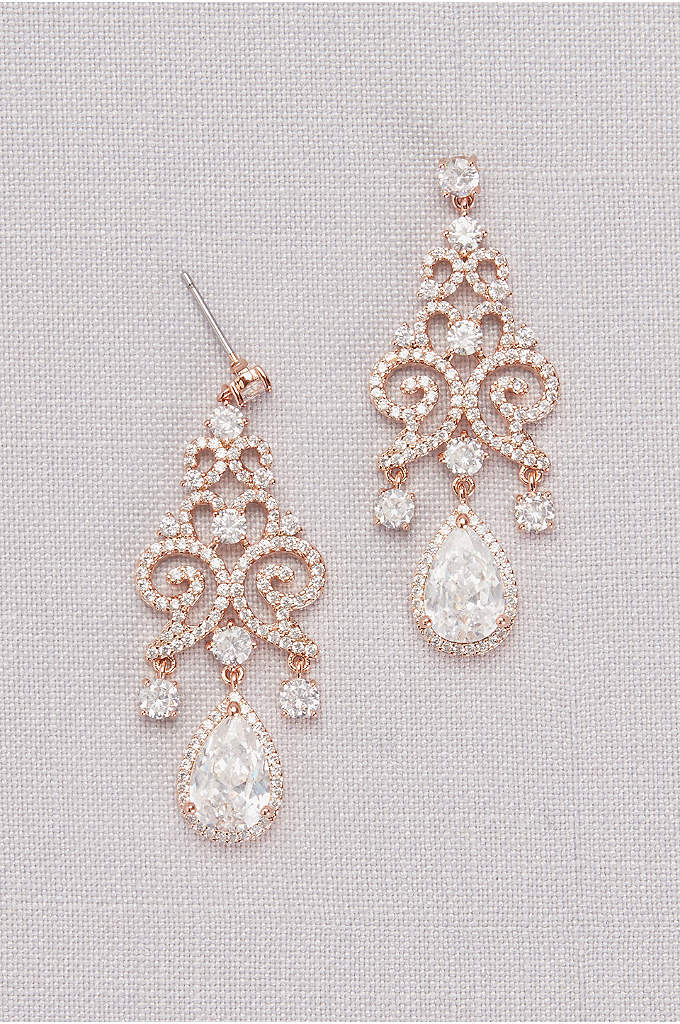 Cubic Zirconia Pave Filigree Pear Drop Earrings - Swirls of pave filigree and a faceted pear-shape