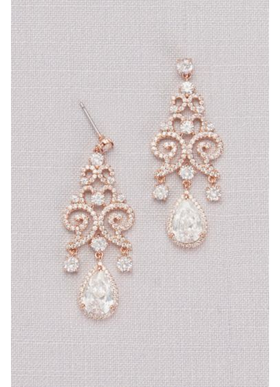 Grey (Cubic Zirconia Pave Filigree Pear Drop Earrings)