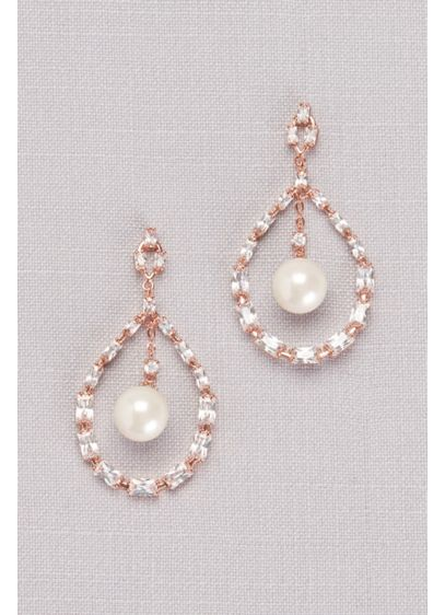 Cubic Zirconia Baguette And Pearl Drop Earrings Wedding Accessories