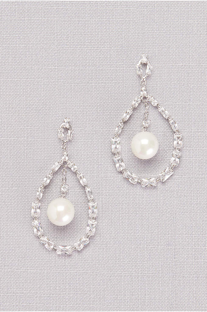 Cubic Zirconia Baguette and Pearl Drop Earrings  - Angular cubic zironia baguettes and perfectly round pearls