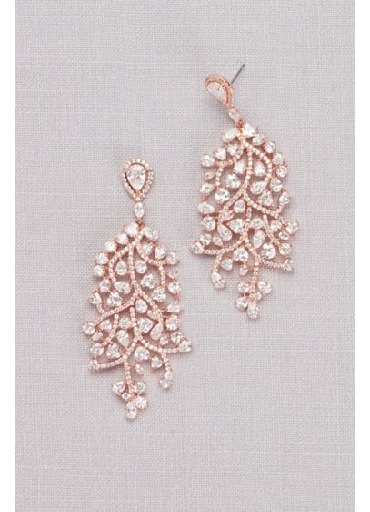 Cubic Zirconia Trailing Vine Chandelier Earrings - Wedding Accessories