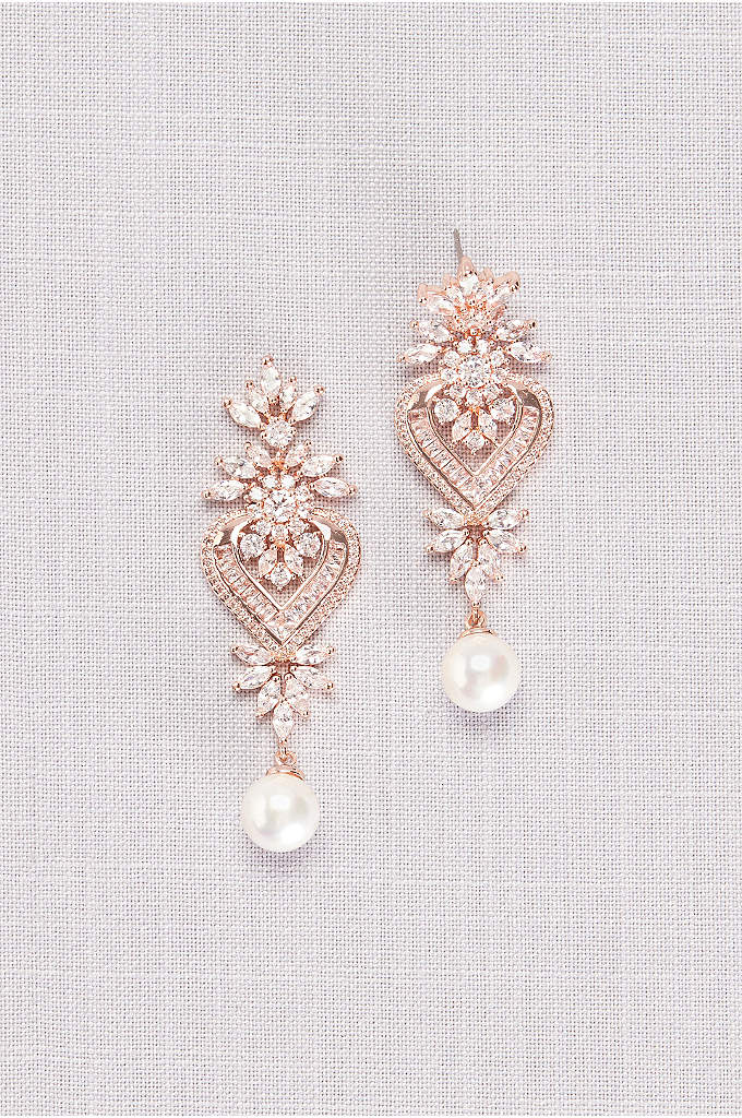 Cubic Zirconia Heart Medallion Earrings with Pearl - An ornate arrangement of glittering cubic zirconia gems