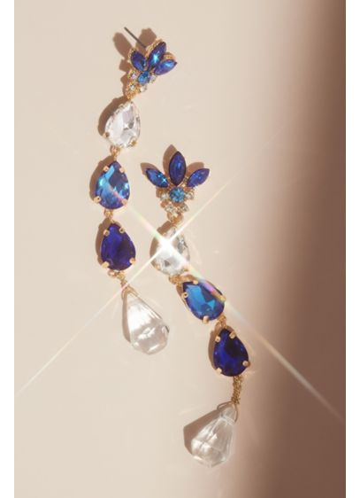 Floral Crystal Drop Earrings - Wedding Accessories