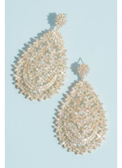 Natasha Grey (Domed Floral Cubic Zirconia Teardrop Earrings)