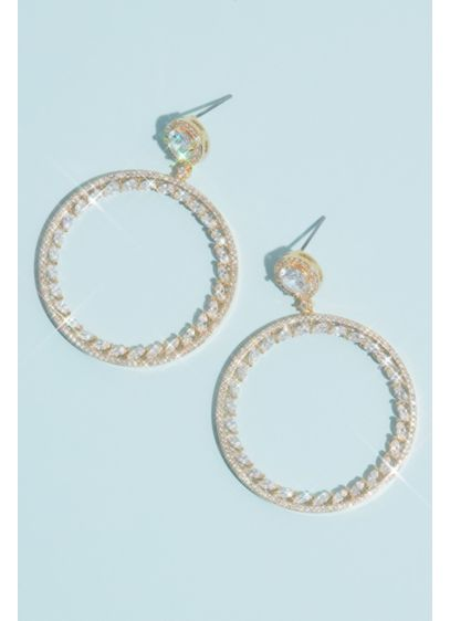 Cubic Zirconia Front-Facing Halo Hoop Earrings - The front-facing hoop is a chic fashion statement.