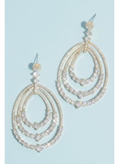 Cubic Zirconia Drop Earrings with Pave Oval Hoops - Make a sparkling statement with a sleek updo