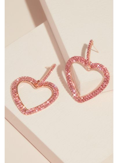 Natasha Red (Pave Rhinestone Heart Hoop Earrings)