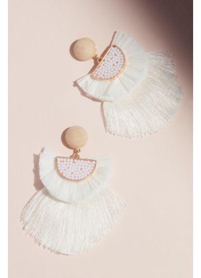 Beaded Half Moon Fringe Earrings with Wood Stud - Wedding Accessories