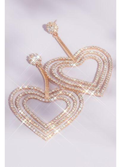 Crystal Triple Heart Drop Earrings - Wedding Accessories