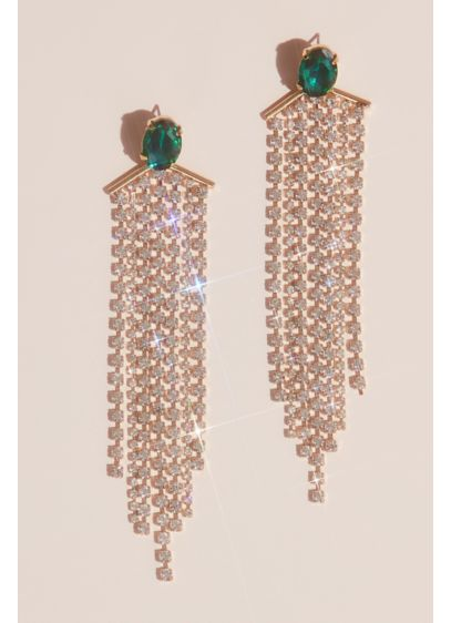 Emerald Stud Earrings with Floating Crystal Fringe - Channel Old Hollywood glamour when you wear this