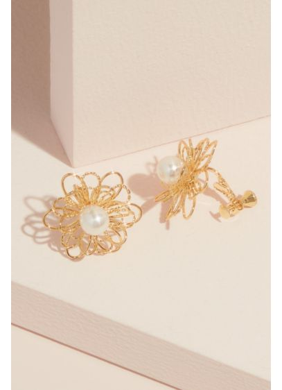 Natasha Yellow (Pearl and Wire Flower Stud Earrings)