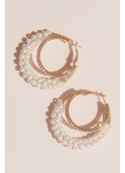 Crystal and Pearl Multi-Hoop Earnings - Wedding Accessories