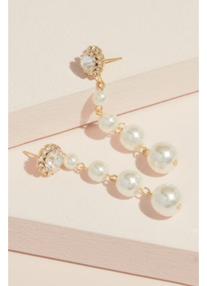 Natasha Yellow (Crystal and Pearl Graduated Drop Earrings)