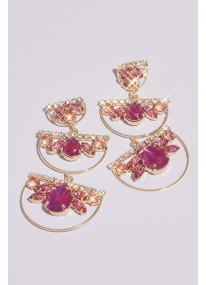 Stacked Stone Half-Hoop Earrings - An updated take on the dangling chandelier earring,