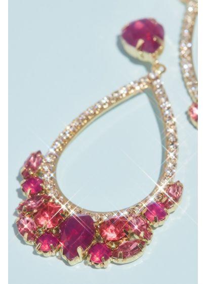 Pave Teardrop Hoop Earrings with Stone Clusters - Wedding Accessories