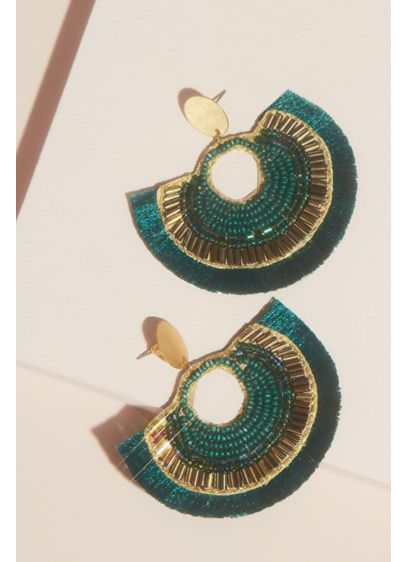 Beaded Tassel Fan Earrings - Featuring a beaded, fringy fan and a gleaming