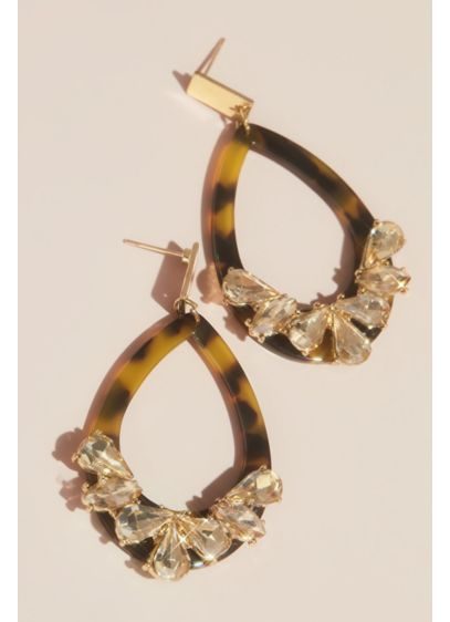 Tortoise Hoop Earrings with Crystals - Wedding Accessories