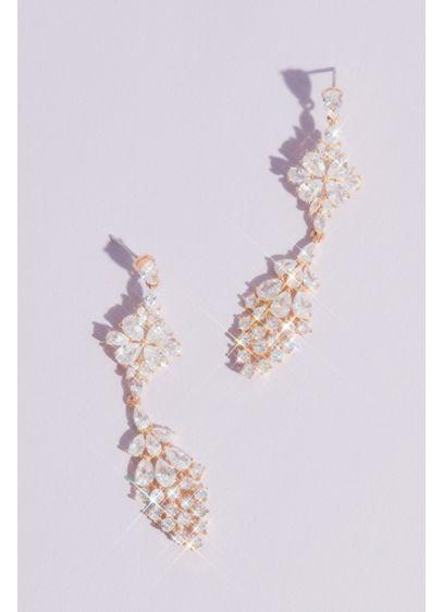 Geometric Clusters Crystal Drop Earrings - Wedding Accessories