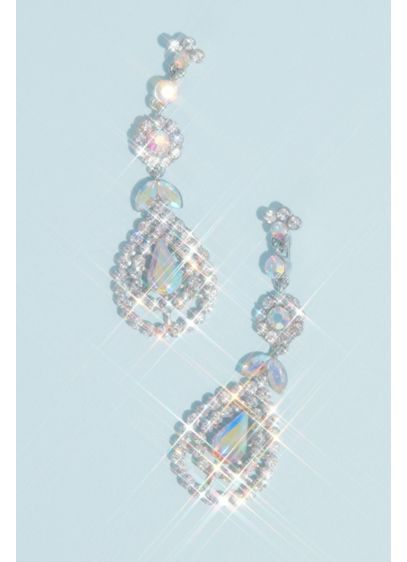 Crystal Drop Earrings with Iridescent Stones - These radiant earrings are crafted with round and