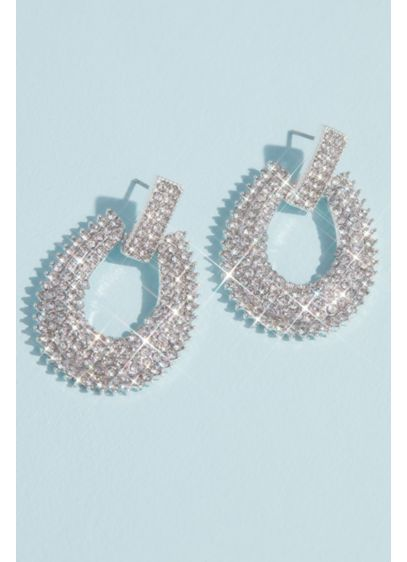 Pave Crystal Knocker Earrings with Burst Halo - Bold and beautiful, these light-catching crystal knocker earrings