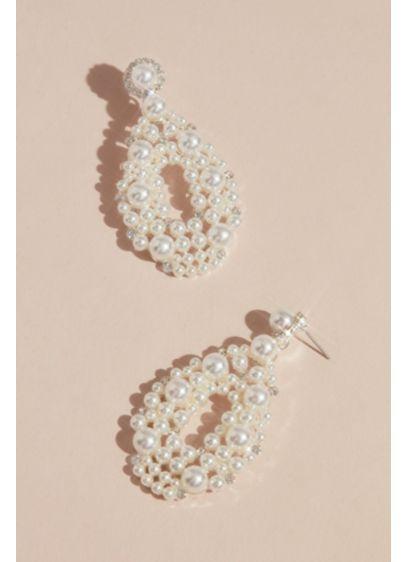 Maximalist Pearl Teardrop Hoop Earrings - Wedding Accessories