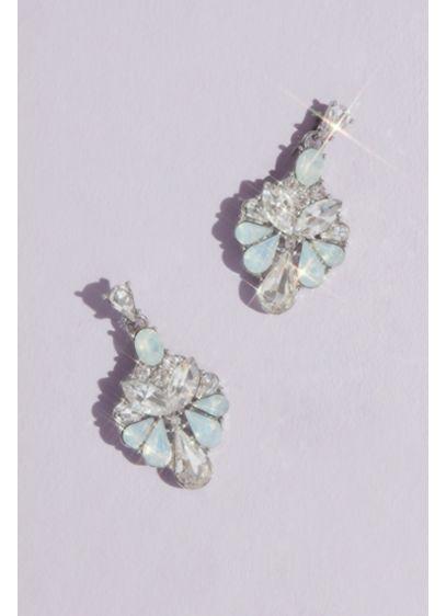Opal and Crystal Fan Drop Earrings - Wedding Accessories