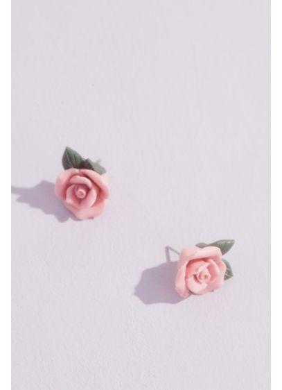 Single Rose Stud Earrings - Wedding Accessories
