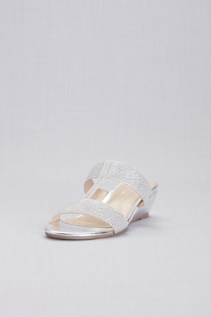 Pink Paradox Grey (Strappy Shimmer T-Strap Mules)