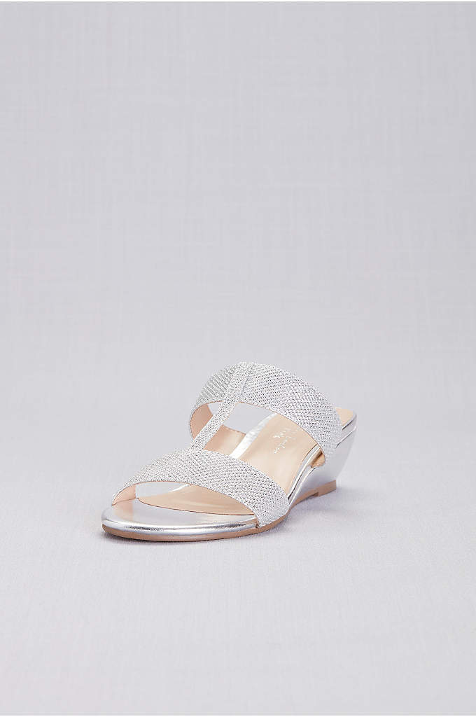Strappy Shimmer T-Strap Mules - Metallic slip-on wedges are a comfy choice for