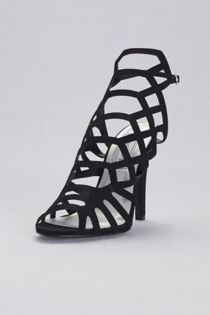 Touch Ups Beige;Black;Grey Heeled Sandals (Shiny High Heel Cage Sandals)