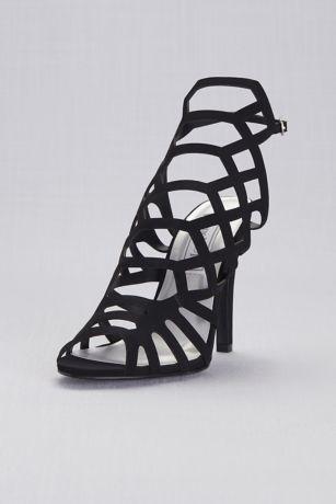 Touch Ups Beige;Black;Grey Heeled Sandals (Shiny High Heel Cage Sandals)