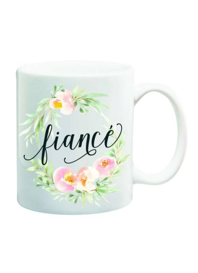 Fiance Mug - Fiance encircled by pretty watercolor flowers adorns this