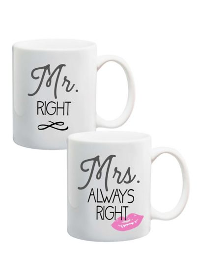 Mr. and Mrs. Right Mug Set - Wedding Gifts & Decorations