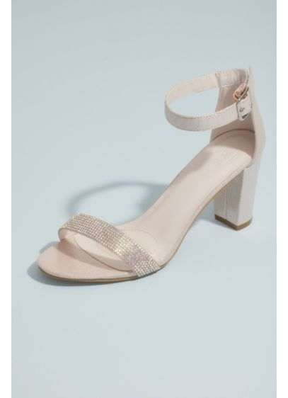 David's Bridal White (Block Heel with Crystal Toe Strap)