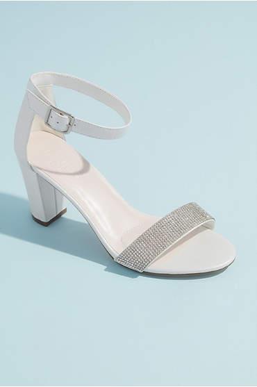 Block Heel with Crystal Toe Strap