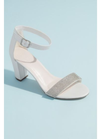 White (Block Heel with Crystal Toe Strap)