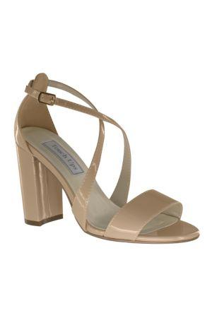 Dyeables Beige;Pink (Crisscross Strap Block Heel Sandals)